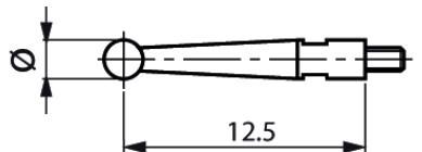 Mérőtapintó M1.4 fejjel Ø1 mm, Hossz =12.5 mm