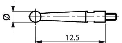 Mérőtapintó M1.4 fejjel Ø2 mm, Hossz =12.5 mm