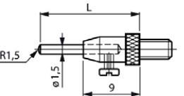 Mérőtapintó M2.5 4 változtatható pinnel, Hossz =16/26/36/46 mm
