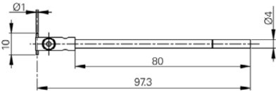 Mérőtapintó befogó, Ø1 x 10 mm, Hossz =80 mm