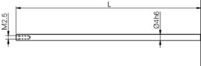 Mérőtapintó befogó M2.5, Hossz =200 mm