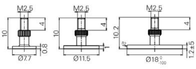 3 tányér alakú tapintó készlet M2.5, Ø 7.7 / 11.5 / 18 mm