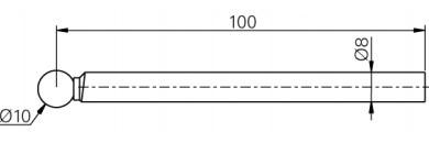 Mérőtapintó rubin fejjel Ø10 mm, Hossz =100 mm