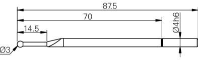 Mérőtapintó rubin fejjel Ø3 mm, Hossz =87.5 mm