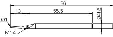 Mérőtapintó Ø1 mm befogóval, Hossz =86 mm
