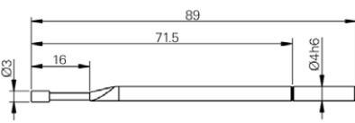 Hordó alakú tapintó Ø3 x 5 mm, L = 89 mm