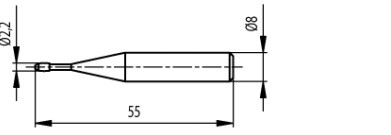 Hordó alakú tapintó M3-M16, Hossz =55 mm