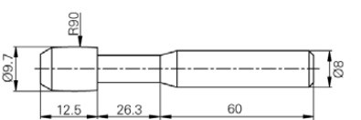 Hordó alakú tapintó M12-M150, Hossz =60 mm