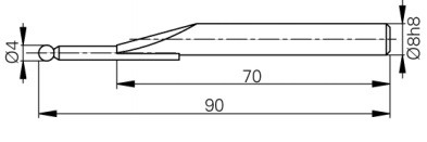 Mérőtapintó rubin fejjel Ø4 mm, Hossz =90 mm
