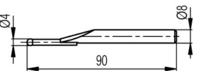 Mérőtapintó volfram karbid fejjel Ø4 mm, Hossz =90 mm
