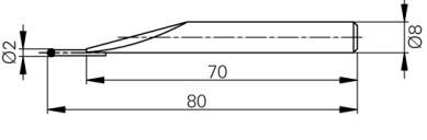 Mérőtapintó volfram karbid fejjel Ø2 mm, Hossz =80 mm