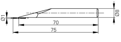 Mérőtapintó volfram karbid fejjel, Ø1 mm, Hossz =75 mm