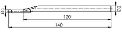 Mérőtapintó volfram karbid fejjel Ø4 mm, Hossz =140 mm