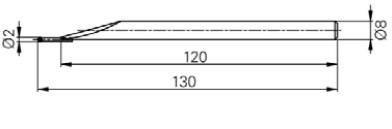 Mérőtapintó volfram karbid fejjel Ø2mm, Hossz =130 mm