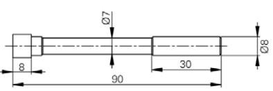 Mérőtapintó párhuzamos élekkel, Hossz =90 mm