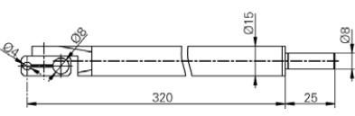 Forgórész befogó Ø4 and Ø8 mm, Hossz =300 mm