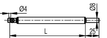 tapintó befogó 90°, Ø4 mm, Hossz =150 mm