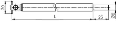 tapintó befogó pinnel Ø2 x 20 mm, Hossz =200 mm