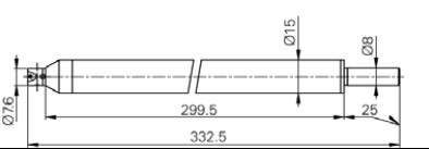 Mérőtapintó befogó M2.5, Hossz =300 mm