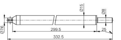 """Mérőtapintó befogó ("""")4-48, Hossz =300mm"""