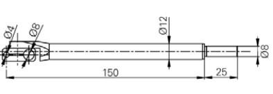Forgórész befogó Ø4 and Ø8 mm, Hossz =150 mm