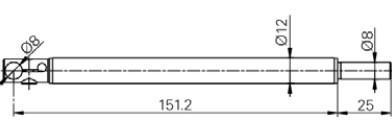 tapintó befogó 90°, Ø8 mm, Hossz =150 mm