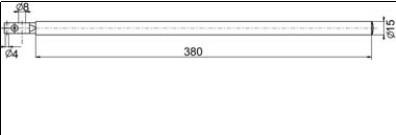Forgórész befogó Ø4 and Ø8 mm, Hossz =400 mm
